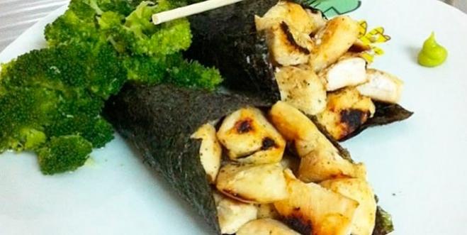 Sushi fit e temaki de frango