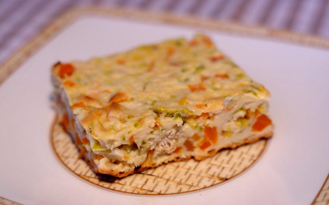 Torta proteica de frango com legumes